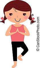 mignon, girl, blanc, yoga, isolé