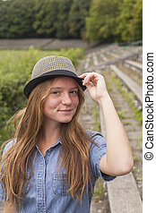 mignon, girl, chapeau, jeune