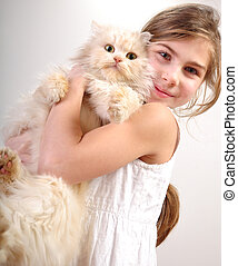 mignon, girl, chat
