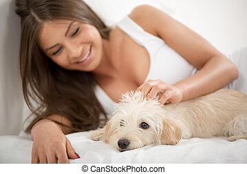 mignon, girl, chien, matin