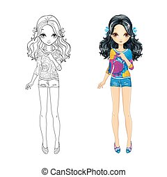 mignon, girl, coloration, brunette, livre