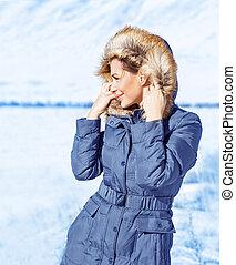 mignon, girl, extérieur, hiver