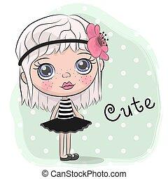 mignon, girl, fleur, dessin animé