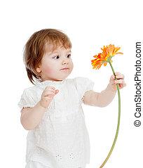 mignon, girl, fleur, gosse