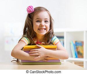 mignon, girl, livres, gosse, preschooler