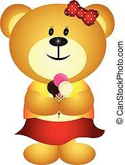 mignon, girl, manger, dessin animé, ours