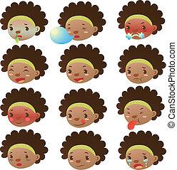 mignon, girl, noir, expressions, facial
