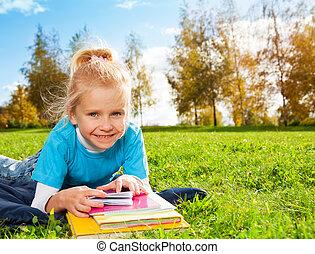 mignon, girl, parc, sourire, blond