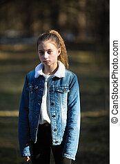 mignon, girl, park., jeune, portrait
