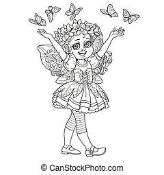 mignon, girl, printemps, esquissé, isolé, papillons, déguisement, fond, fée, blanc