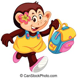 mignon, girl, sac à dos, singe