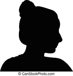 mignon, girl, silhouette