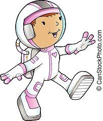 mignon, girl, vecteur, astronaute