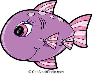 mignon, girl, vecteur, fish, océan