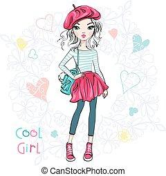 mignon, girl, vecteur, mode