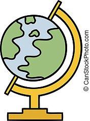 mignon, globe, dessin animé, mondiale