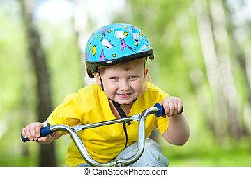 mignon, gosse, vélo, portrait