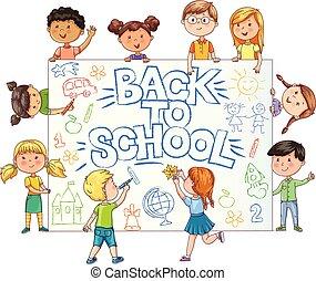 mignon, gosses école, childrens, peint, dos, prise, bannière, dessin