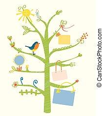 mignon, gosses, arbre, -, illustration, texte, cadres, carte