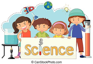 mignon, gosses, bannière, science