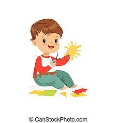 mignon, gosses, coloré, garçon, caractère, illustration, ?utting, application, détails, vecteur, développement, créativité, enfant, education