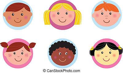 mignon, gosses, diversité, icônes, bouton, ou