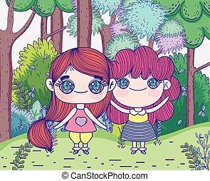 mignon, gosses, filles, arbres, peu, dessin animé, pré, forêt, anime, debout