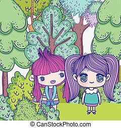 mignon, gosses, filles, dessin animé, forêt, anime, ensemble, peu