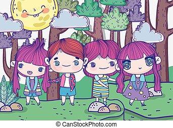 mignon, gosses, filles, jour, dessin animé, garçons, forêt, ensoleillé