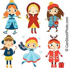 mignon, gosses, hiver, set., filles, collection, femme, vecteur, caractères, activity., dessin animé