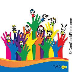 mignon, gosses, illustration., vecteur, fingers., dessin animé, heureux