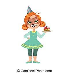 mignon, gosses, masque, anniversaire, chat, morceau, ensemble, caractères, attributes, gâteau, fête, partie, girl, dessin animé, célébration