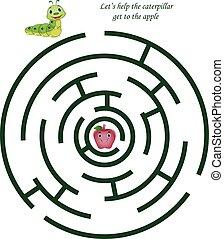mignon, gosses, pomme, chenille, labyrinthe, dessin animé