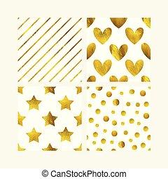 mignon, gosses, saint, gabarit, or, doré, set., valentine, lignes, seamless, carte voeux, motifs, arrière-plan., étoiles, cœurs, bannière, scintillement, papier peint, design.