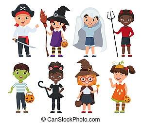 mignon, gosses, set., halloween, illustration, vecteur, dessin animé
