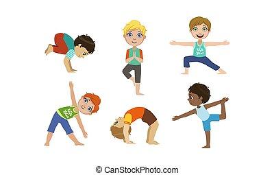 mignon, gosses, yoga, ensemble, filles, illustration, garçons, vecteur, gymnastique, activité, exercices, style de vie, sain, physique