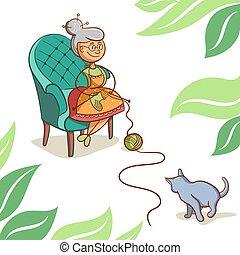 mignon, grand-maman, dessin animé