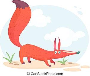 mignon, grand, sitting., fox., autocollant, renard, illustration, dessin animé, décoration, vecteur, conception, ou