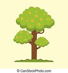 mignon, graphique, printemps, arbre, illustration, saison