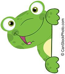 mignon, grenouille, signe, derrière, vide, sourire