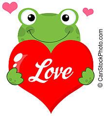 mignon, grenouille, tenue, a, coeur