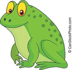 mignon, grenouille verte, dessin animé