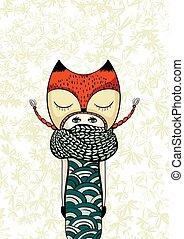 mignon, griffonnage, coloré, zen, manteau, main, tricoté, foxy, dessiné, girl, écharpe, zentangle
