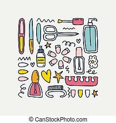 mignon, griffonnage, isolé, illustration, symboles, arrière-plan., produits de beauté, blanc