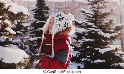 mignon, gros plan, lent, coup, hiver, battement, arbre, neige, pin, caucasien, mouvement, surprenant, amusement, girl, peu, avoir, vêtements