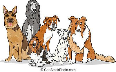 mignon, groupe, purebred, illustration, chiens, dessin animé