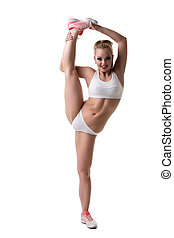mignon, gymnastic., appareil photo, poser, flexible, girl
