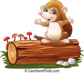 mignon, hérisson, arbre, bûche, dessin animé