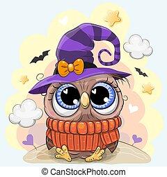 mignon, halloween, chapeau, hibou