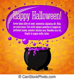 mignon, halloween, chaudron, spiders., papier, chauves-souris, ton, potion, -, texture, noir, retro, sorcières, heureux, text., ébullition, métier, sorcière, fond, bannière, salutation, endroit